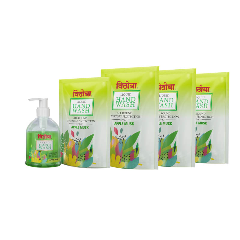 Vithoba Liquid Handwash Apple Musk – 250Ml bottle + 200Ml refill=600 Apple Musk refill pack Combo Pack
